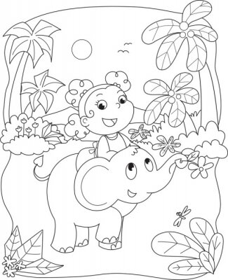 Wall mural Coloring illustration of a girl riding a elephant
