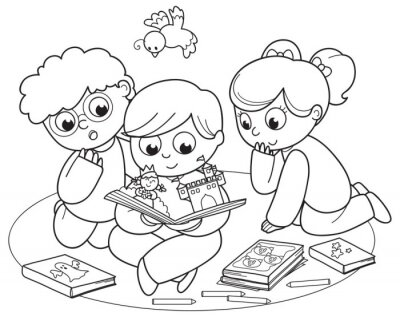Wall mural Coloring illustration of friends reading a pop-up book together.