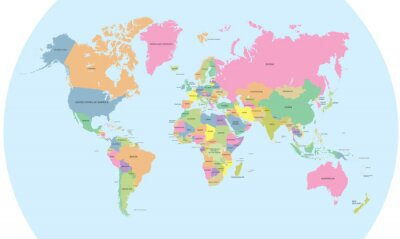 Wall mural Coloured political map of the world vector