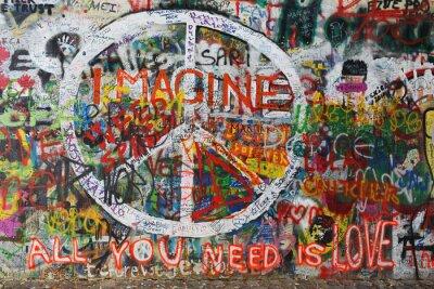 Wall mural Colourfull peace graffiti on wall
