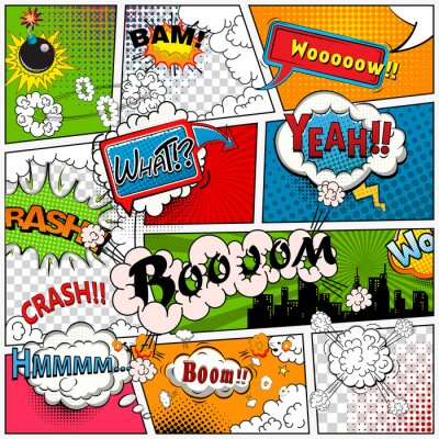 Wall mural Comic book page divided by lines with speech bubbles, sounds effect. Retro background mock-up. Comics template.