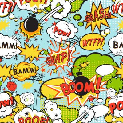 Wall mural Comic boom seamless pattern