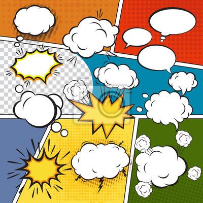 Wall mural Comic set bubbles