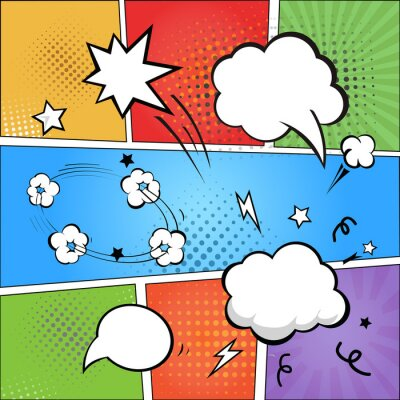 Wall mural Comic strip  and comic speech  bubbles on colorful halftone
