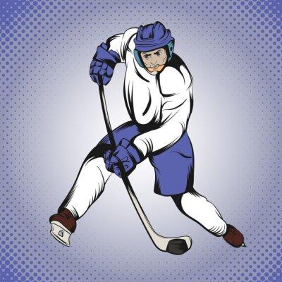 Wall mural Comics hockey player