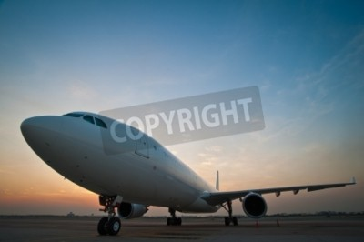 Wall mural Commercial airplane parking at the airport