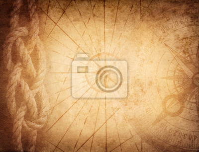 Compass, rope on vintage map. Adventure, travel, stories background.