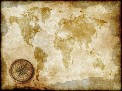 Wall mural compass with vintage map