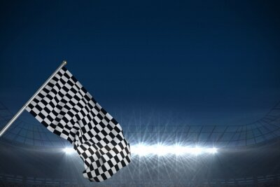 Wall mural Composite image of checkered flag