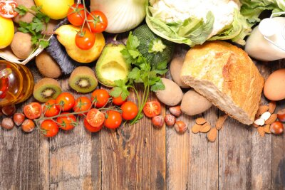 Wall mural composition with diet and healthy food