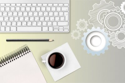 Computer keyboard at workplace and cup isolated on  background