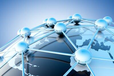 Wall mural concepto de internet y trabajo en red con mapa del mundo