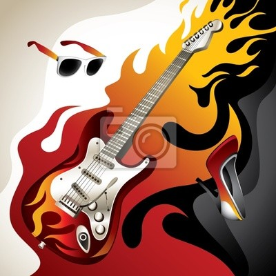 Conceptual background with electric guitar.