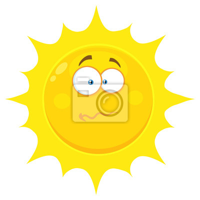 Wall mural: Confused yellow sun cartoon emoji face character with nervous