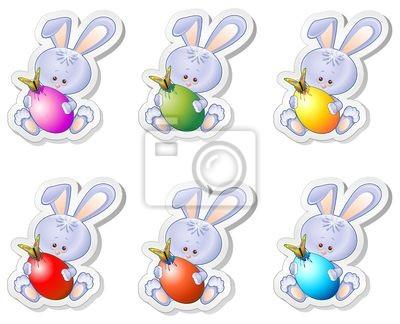 Conigli Cartoon Stickers Easter Bunny and  Eggs-Vector