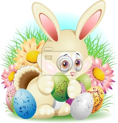 Coniglio con Uovo di Pasqua-Rabbit Cartoon with Easter Egg-2