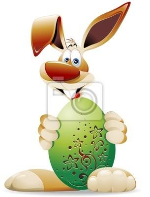 Coniglio Uovo di Pasqua-Rabbit Cartoon and Easter Egg-2-Vector