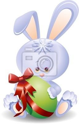 Coniglio Uovo di Pasqua-Rabbit Cartoon and Easter Egg-Vector