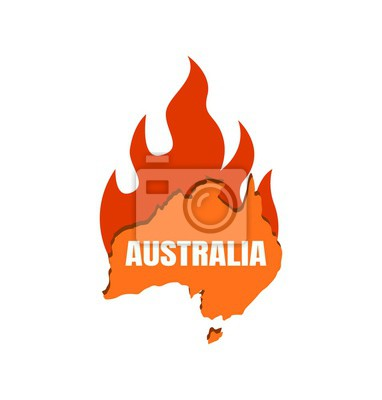 Wall mural Continent Australia on fire. Map of Australia with fire flame, fire on the continent