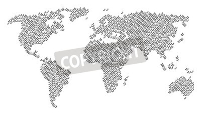 Wall mural Continent map collage created of call elements. Vector call icons are combined into conceptual continent illustration.