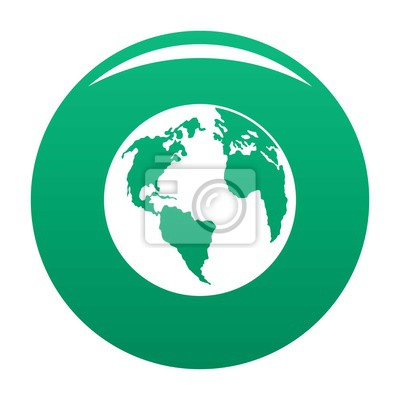 Wall mural Continent on planet icon. Simple illustration of continent on planet vector icon for any design green