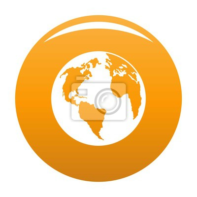 Wall mural Continent on planet icon. Simple illustration of continent on planet vector icon for any design orange