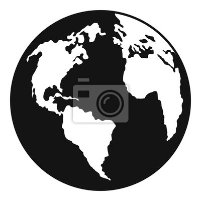 Wall mural Continent on planet icon. Simple illustration of continent on planet vector icon for web