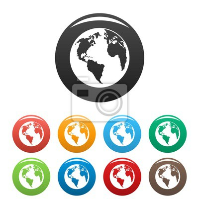 Wall mural Continent on planet icon. Simple illustration of continent on planet vector icons set color isolated on white