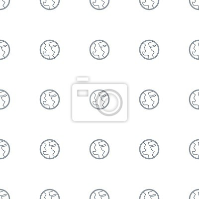 Wall mural continent pattern repeat seamless on white background. Editable line continent icons from marketing collection. planet icon for web and mobile.