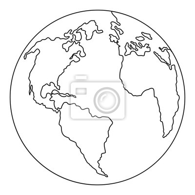 Wall mural Continent planet icon. Outline illustration of continent planet vector icon for web