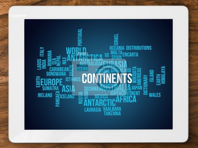 Wall mural continents