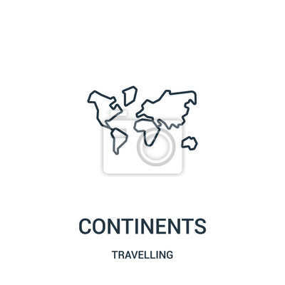 Wall mural continents icon vector from travelling collection. Thin line continents outline icon vector illustration. Linear symbol.
