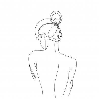 Wall mural Continuous line drawing. Woman body. Vector Illustration for spa, tshirt, nails, poster