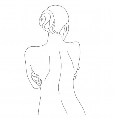 Wall mural Continuous line drawing. Woman body. Vector Illustration for spa, tshirt, nails, poster. vector image of a woman. one line sketch