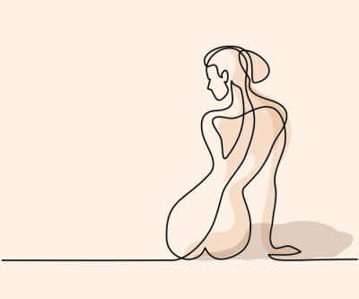 Wall mural Continuous line drawing. Woman sitting back. Soft color vector illustration