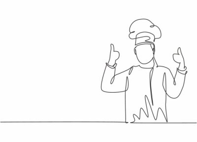 Wall mural Continuous one line drawing of young happy handsome male chef giving thumbs up gesture. Excellent taste of food in hotel restaurant concept single line draw graphic design vector illustration