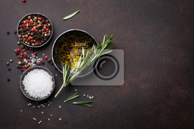 Cooking table with herbs and spices