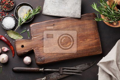 Wall mural Cooking table with herbs, spices and utensils