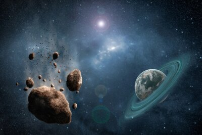 Wall mural Cosmos scene with asteroid, planet and nebula in space