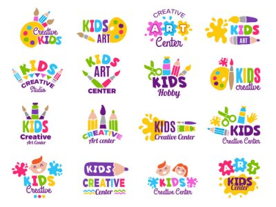 Wall mural Creative kids logo. Craft and painting creativity class for children identity vector emblems collection. Children logo center, class label collection illustration