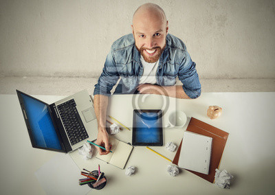 Creative man working on a project