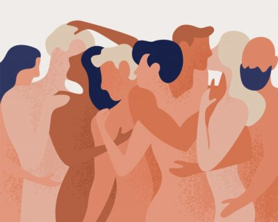 Wall mural Crowd of naked men and women hugging and kissing. Concept of polygamy, polyamory, open intimate romantic and sexual relationship, free love. Colorful vector illustration in flat cartoon style.