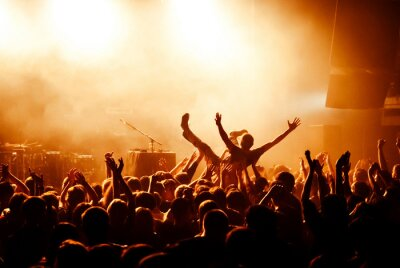 Wall mural Crowd surfing during at concert