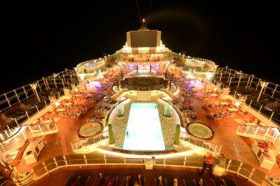 Wall mural Cruise ship top deck at night