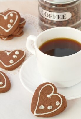 Wall mural Cup of coffee and chocolate cookies