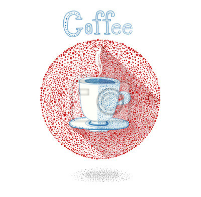Cup of coffee in drops style. Coffee invitation.