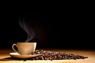Wall mural Cup of coffee with smoke and coffee beans on old wooden background