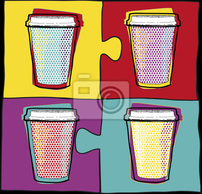 Cups in Pop Art style.Coffee drinking cups.