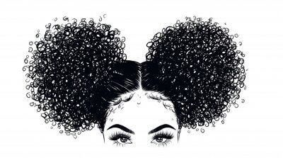 Wall mural Curly beauty girl illustration isolated on clear background. Double buns with long hair. Hand draw idea for business cards, templates, web, brochure, posters, postcards, salon