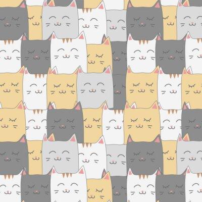 Wall mural Cute adorable cat kitten seamless pattern background wallpaper